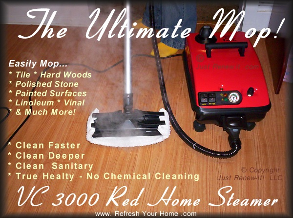 Vc 3000 r vapor steam cleaner commercial quality home for Cleaning stained concrete floors steam mop
